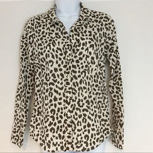 J. Crew Women's Leopard Animal Button Front Sz XS